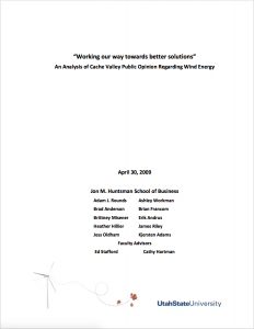White Paper Cover Sheet For the Cache Valley Wind Power Study