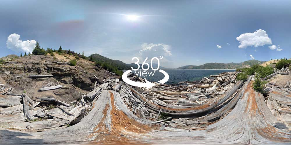360 degree panorama, Spirit Lake, Mount St. Helens